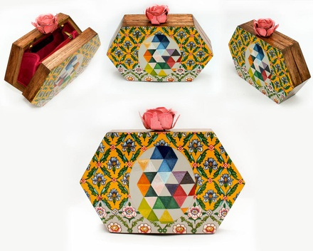 Octagon hand painted wooden box clutch