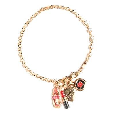 LeCalla beauty Heart Lipstick Perfume Flip-Flop Charm bracelet