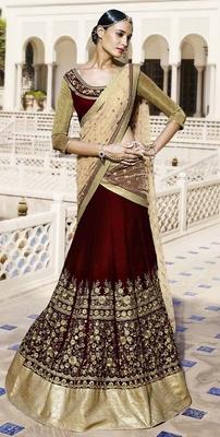 Variation Maroon Velvet Designer Ghaghra Choli