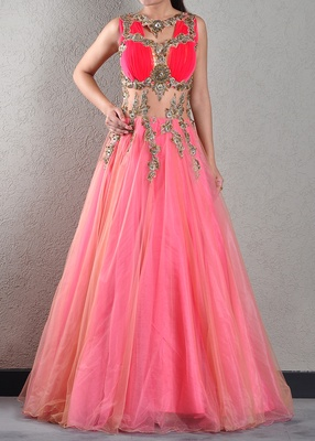 Fuschia embroidered net gown