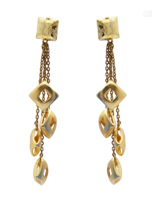 Square gold dangling Earrings
