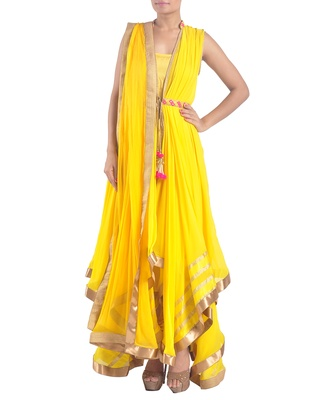 Yellow georgette asymmetrical jacket suit