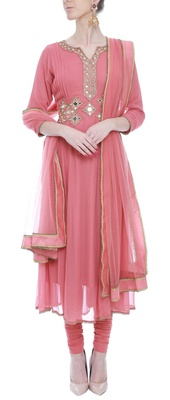 Onion Pink pleated mirrorwork anarkali