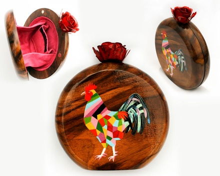 Hen hand painted wooden box clutch