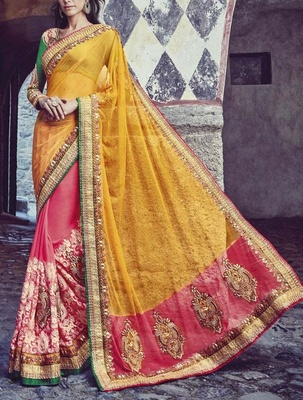 Variation Yellow Net Bridal Saree
