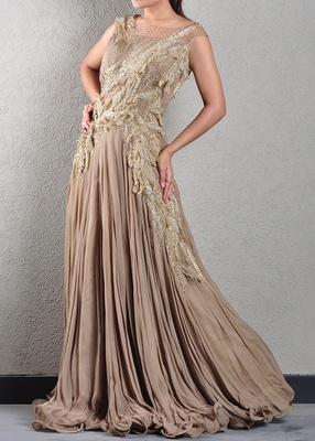 Antique Gold Feathered Gown