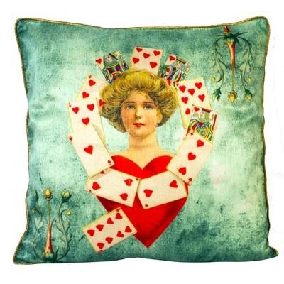 Fluke Design Company Vintage Green Silk Cushion Cover