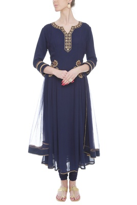 Midnight Blue pleated embroidered anarkali