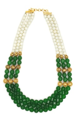 Three Row Green Necklace
