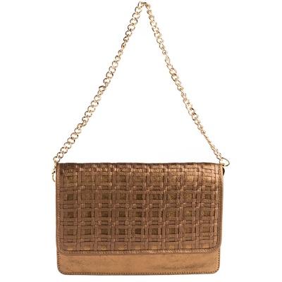 Devina Juneja Check Weave Sling Bag- Gold