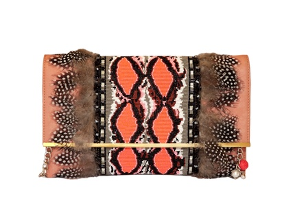 Rossoyuki Feather and glass beaded Panelled clutch- Orange