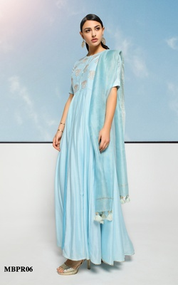 Meena Bazaar Ice Blue Chanderi Anarkali set