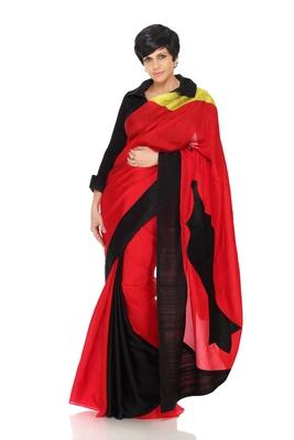 Contemporary Red and Black Saree