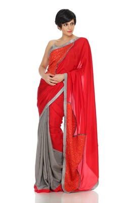 Grey and Red Sequined Saree