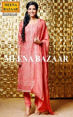 Meena Bazaar Peach Embroidered Salwar Suit