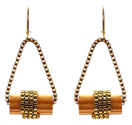 Brown Wooden Cylindrical Earrings