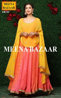 Meena Bazaar Orange Anarkali Suit