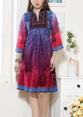 Viva N Diva Pink & Purple Color Faux Georgette Kurti.