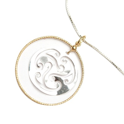 LeCalla Laser Cut Round encased Necklace