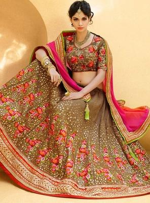 Variation Beige Art Silk Bridal Lehenga Choli