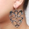 LeCalla Laser Cut Heart Rhodium Dangler Earrings image