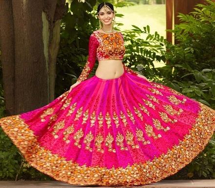 Variation Pink Satin Bridal Lehenga Choli