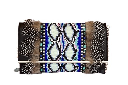 Rossoyuki Feather and glass beaded Panelled clutch- Blue