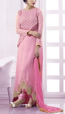 Viva N Diva pink colored faux georgette suit.