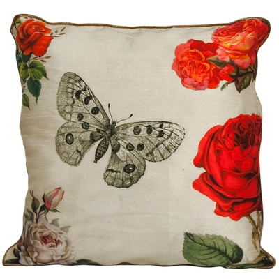 Fluke Design Company Floral White Cushion Cover
