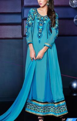 Viva N Diva Sky blue Color pure georgette Anarkali Salwar Suit.