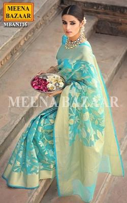 Meena Bazaar Turquoise Handwoven Saree