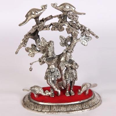 Boontoon Oxidised radha krishna tree embossed art work