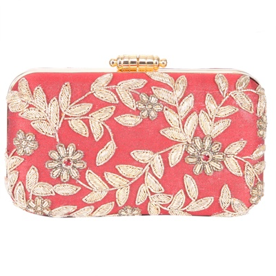 Tarusa RED FLORAL CLUTCH