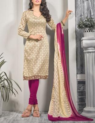 Viva N Diva Cream Color Bhagalpuri Print suit.