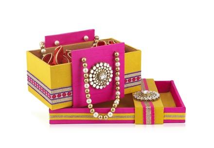 Rajwada Gift-sweet Basket Bag & Tray set