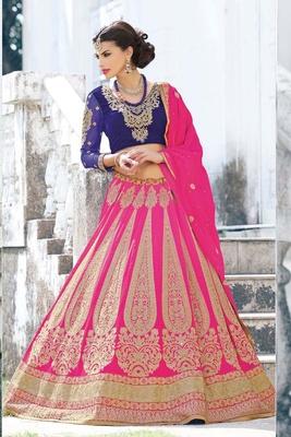 Variation Pink Georgette Bridal Lehenga Choli