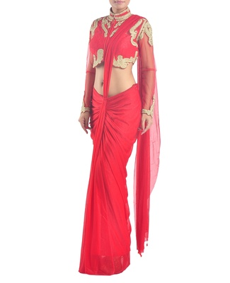 Red pre-stitched embroidered saree