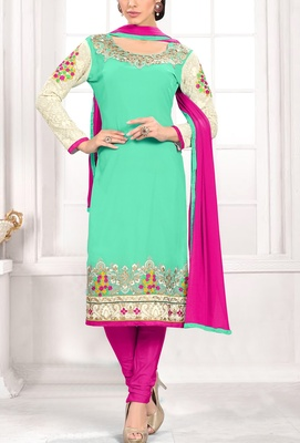 Viva N Diva liril green colored georgette suit.