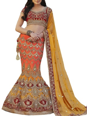 Saree Exotica Red Orange Fish Cut Lehenga