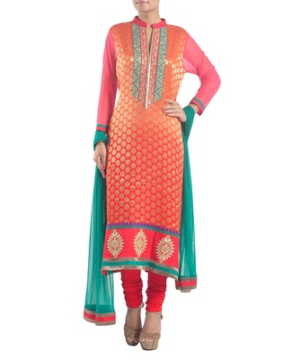 Vermilion banarasi embroidered suit