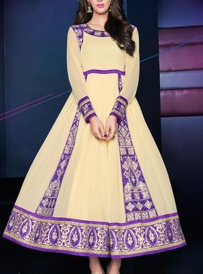 Viva N Diva Cream Color pure georgette Anarkali Salwar Suit.