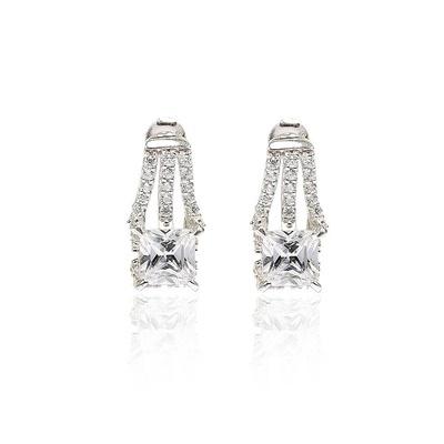 LeCalla Solitaire Stud Earrings Rhodium