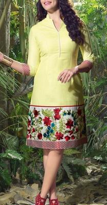 Viva N Diva Yellow color Linen Kurti.