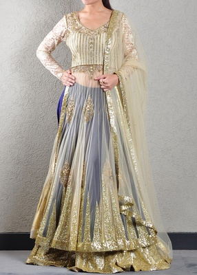 Gold and Ink Blue Embroidered Jacket-Lehenga