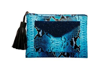 Rossoyuki Animal texture Blue Pouch Clutch