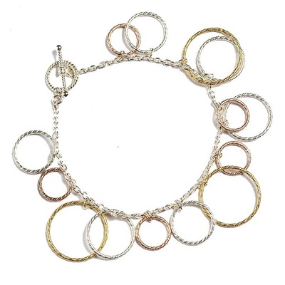LeCalla Three Tone Hollow Circles Bracelet