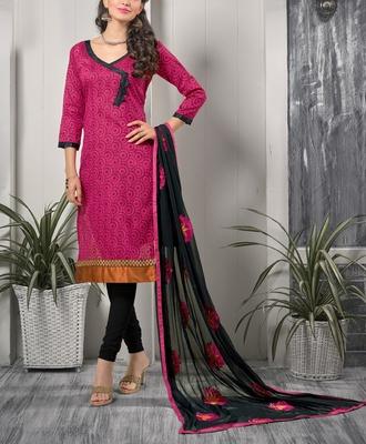 Viva N Diva Pink Color Bhagalpuri Print suit.