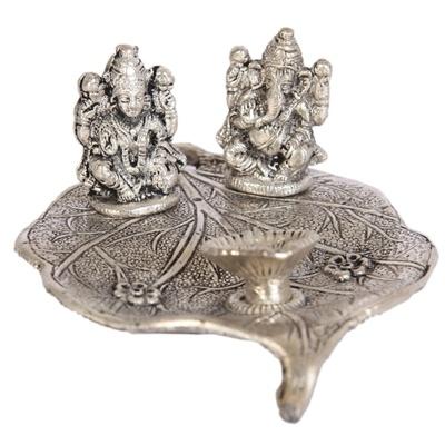 Boontoon Oxidised peepal leaf ganesh lakshmi designer portray