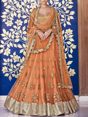 Variation Orange net Designer Ghaghra Choli