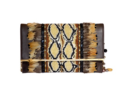 Rossoyuki Feather and glass beaded Panelled clutch- Yellow